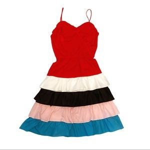 Vintage 80's red ruffle tiered dress